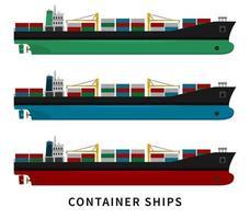 conjunto navio de carga contêiner vermelho verde azul vetor
