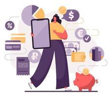 modelo de aplicativo móvel de operações financeiras diárias vetor