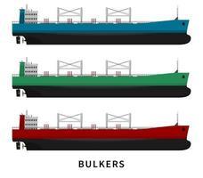 conjunto de navio de carga graneleiro vermelho verde azul. vetor