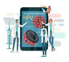 estrutura do papilomavírus em uma tela de telefone com médicos vetor