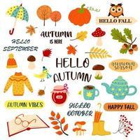 Olá outono com frases de outono e elementos aconchegantes da estação do outono. vetor