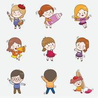 ilustração vetorial de amigos crianças felizes vetor