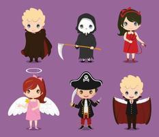 conjunto de crianças fofas vestindo fantasias de halloween vetor