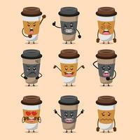 conjunto de xícara de café de personagem de desenho animado fofo vetor