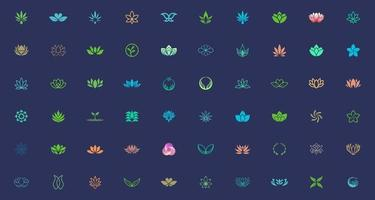 pacote de modelo de design de logotipo de planta e flor vetor