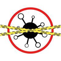 vírus influenza pandêmico. ícone de aviso de perigo. doença de medicina vetor