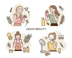 vegan beleza mulher chaeracter. vetor