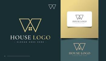 design do logotipo da casa com o conceito da letra m vetor