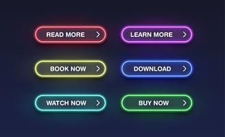 Botões de néon colorido para sites, ilustração vetorial