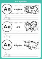 alfabeto az exercício com vocabulário de desenho animado para livro de colorir vetor