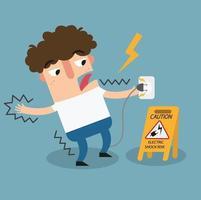 sinal de advertência de risco de choque elétrico. vetor