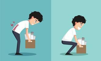 impróprio versus contra levantamento adequado, ilustração, vetor