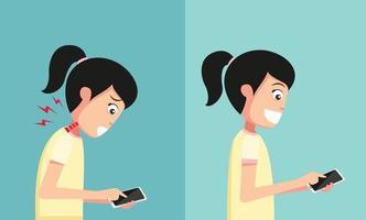 imprópria vs mão adequada segurando e jogando telefone inteligente vetor