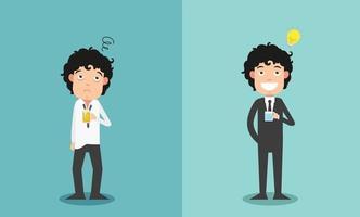 a comparação de dois empresários pelo entusiasmo pelo trabalho vetor