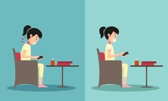 melhores e piores posições para jogar telefone inteligente vetor