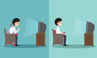 a amostra do cara sentado de maneiras certas e erradas para assistir TV vetor
