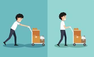 levantamento impróprio versus levantamento adequado vetor