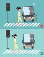 cuidado com seus passos. mulheres na faixa de pedestres vetor