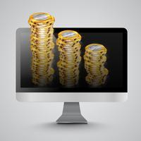 Computador realista com moedas de dinheiro, ilustração vetorial