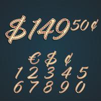 Números e dinheiro sinais feitos pelo couro, ilustração vetorial