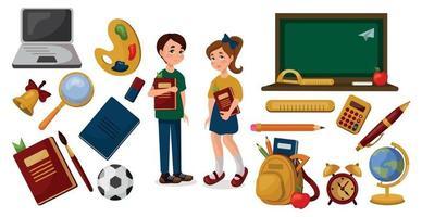 material escolar em um fundo branco, estudante e colegial vetor