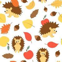 folha de ouriço maçã e bolota padrão de outono sem costura vetor