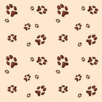 padrão de pegadas de gato ou cachorro em fundo bege vetor