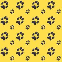 padrão colorido de pegadas de cachorro ou gato em fundo amarelo vetor