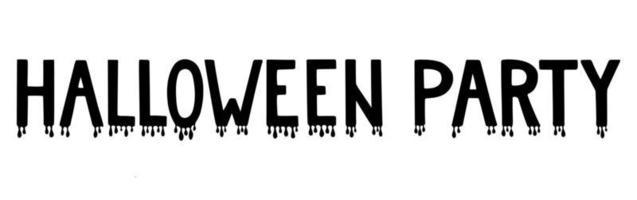 frase de letras manuscritas festa de halloween com sangue pingando. vetor