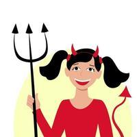 garota vestida como o diabo para a festa de halloween. traje de imp. vetor