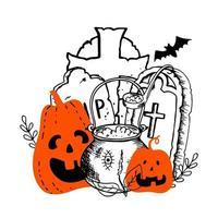 Halloween laranja sorrindo abóboras bruxas caldeirão com poção vetor