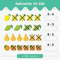 matemática infantil jogo subtração para crianças planilha de matemática vetor