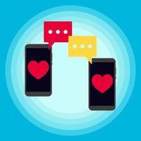 dois telefones conversando notificação de mensagens sms vetor