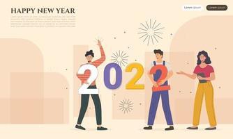 feliz ano novo 2022 caracteres conectam números de ano novo juntos vetor