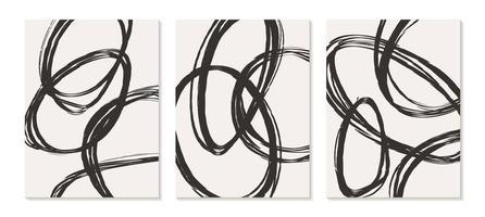 pôster contemporâneo com pincelada abstrata em preto e branco vetor