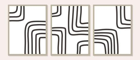 formas abstratas contemporâneas na moda, impressões artísticas, formas pretas mínimas vetor