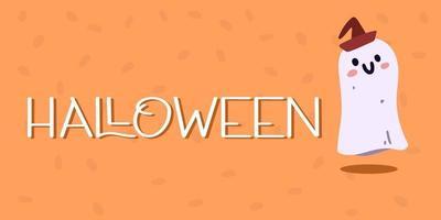 letras de banner de halloween e fantasmas. conceito de halloween. vetor
