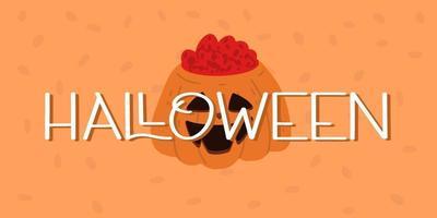 banner de halloween ou fundo de convite de festa com abóbora vetor
