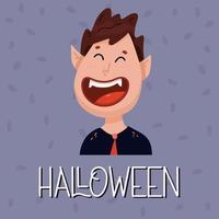 pôster com um vampiro fofo. conceito de halloween. vetor