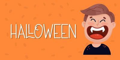 banner de halloween ou fundo de convite de festa com vampiro. vetor