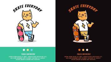 gato dos desenhos animados relaxa com o skate. ilustração para camiseta vetor
