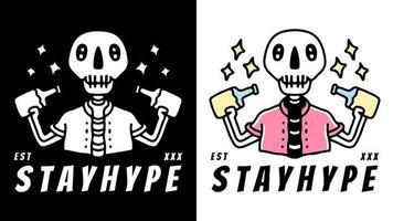 caveira de campanha publicitária com cervejas de garrafa. ilustração para camiseta vetor