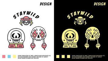 coleção de cabeça de caveira, ilustração para camiseta vetor