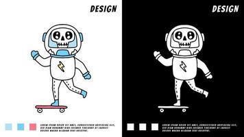 Astronauta com caveira brincando de skate, ilustração para camiseta vetor