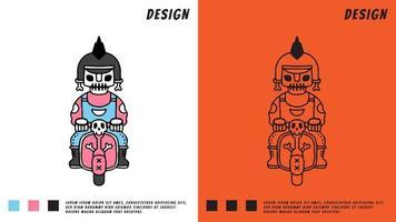 caveira punk andar de bicicleta, ilustração para camiseta, vetor