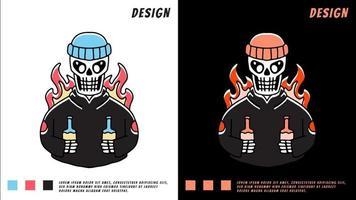 caveira com gorro e segurando cervejas, ilustração para camiseta vetor