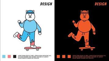 exagero urso polar brincando de skate, ilustração para camiseta vetor