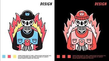 hype skull playing gadget in fire, ilustração para camiseta vetor