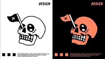 cabeça de caveira e bandeira no olho, ilustração para camiseta vetor