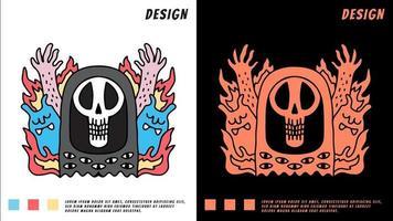 Ceifador crânio e monstro gato, ilustração para camiseta vetor